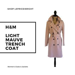 H&M Light Mauve Trench Coat (Women's XXS), Raincoat, Premium Quality